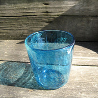 Artisan hand blown drinking glass aqua with golden tones