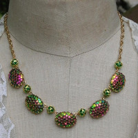 Necklace  Snake skin Pattern Retro Vintage Heliotrope Glass Bright Green Purple