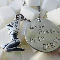"Silver Pinup Girl Necklace - ""Look Pretty Play Dirty"""