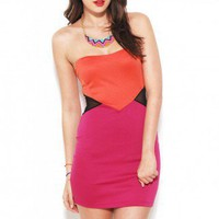 Colorblocked Tube Dress w/ Mesh Inserts in Fuschia