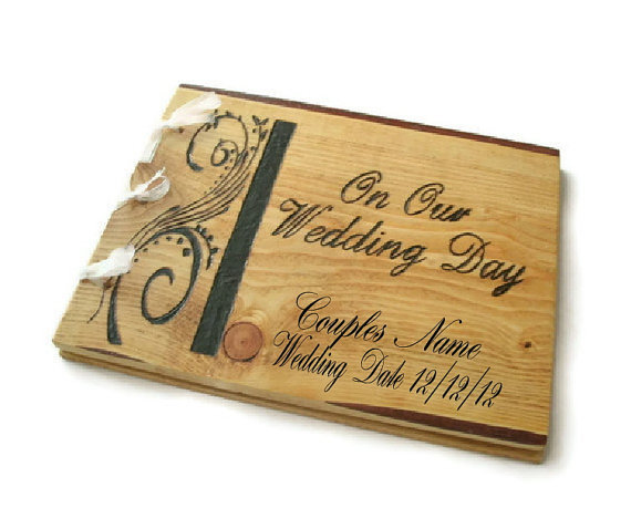 Wooden Personalized Guest Book - Wedding Rustic Book 10&quot;x12&quot;