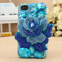 Gullei Trustmart : iPhone 4S 4G 3GS iPod Touch Blue Rose Stylish Artificial Rhinestone Case [GTMSP0145] - $44.00 - Couple Gifts, Cool USB Drives, Stylish iPad/iPod/iPhone Cases & Home Decor Ideas