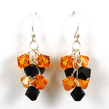 Swarovski Crystal Clusters - Yellow and Black - Sterling Silver Dangle Earrings