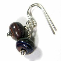 Terranova Lampwork Glass Bead Sterling Silver Dangle Earrings Handmade