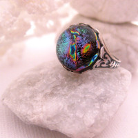 Violet Jade Fire Ring - Dichroic Glass