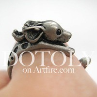 Dotoly | Miniature Reindeer Deer Animal Wrap Around Ring in Silver - Sizes 4 to 9 Available | Online Store Powered by Storenvy