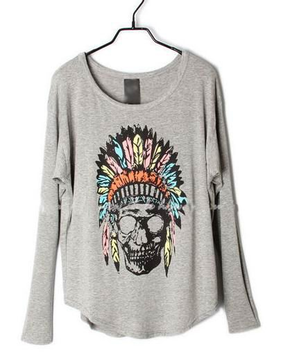 Grey Indian Skull Dolman Long Sleeve Curved Hem T-shirt - Sheinside.com