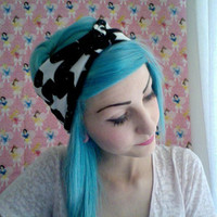 Wish upon a STAR print black and white turban headband