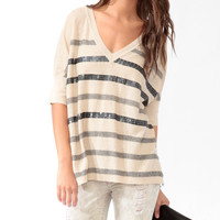 Sequined Striped Purl Knit <br>Sweater