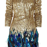 Matthew Williamson | Sequin and feather hand-woven dress | NET-A-PORTER.COM