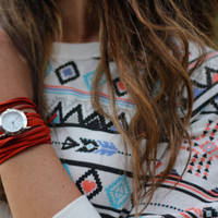 Red Suede Bracelet Watch with Small White Round Interchangeable Face
