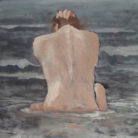 Original Art Nude Figure - Ocean Painting By earthluv