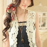 Crocheted Mysterious Sleeveless Ivory Shrug