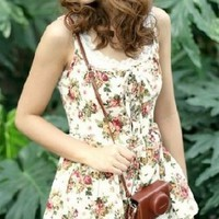 Floral Print Summer Love Rompers Beige