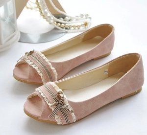 Shabby Chic Lace Open-toe Flats Pink