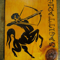 Sagittarius Archer Centaur Woodburned Plaque Zodiac sign Astrology Pyrography Horoscope