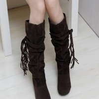Lace-up Bohemian Style Long Boots Dark Brown