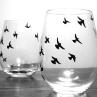 Painted Stemless Wine Glasses - Birds in Flight, Set of 2