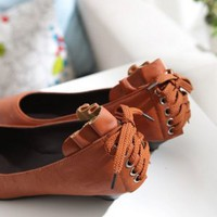 Leather Shoelace New Style Flats