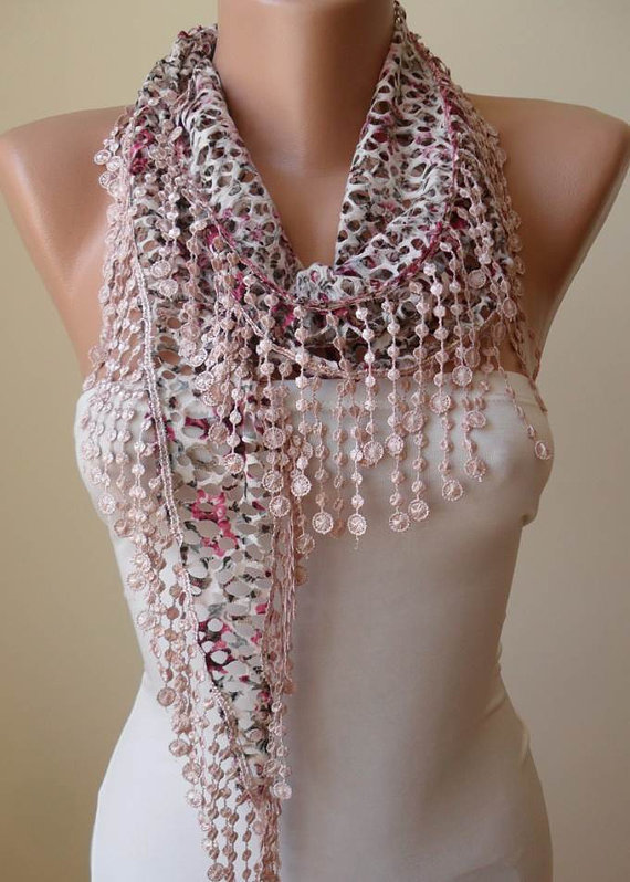 ON SALE - Perforated Fabric --- Light Pink Scarf with Trim Edge...