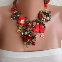 Brown and Coral Necklace - Handmade Design