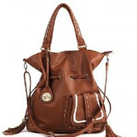Double Tassel Bohemian Inspired Handbag Brown