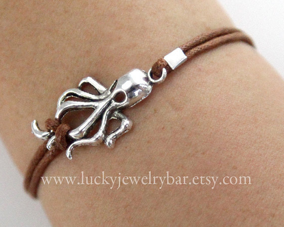 antique silver octopus bracelet, octopus bracelet, wax cords bracelet,