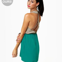 Cool Backless Dress - Cage Dress - Color Block Dress - $40.00