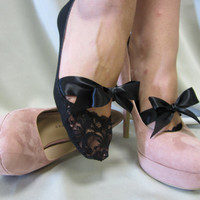 Paris Peek-a-Bow oh la la lace socks black footlets slippers for bridal wedding satin bows peeking out from your favorite pump and flats