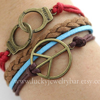 Anti-war peace bracelet, antique bronze handcuff bracelet, braided leather bracelet, SALE