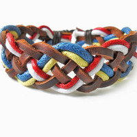 Bangle leather bracelet ropes bracelet woven bracelet women bracelet girls bracelet made of hemp rope and leather cross cuff  SH-1570