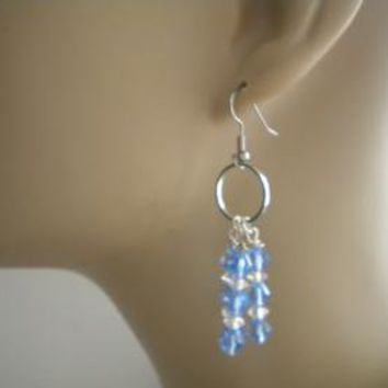 Silver Circle Blue Chandelier Drops by IllusionsbyDonna on Zibbet