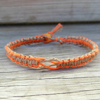 Hemp Bracelet Macrame Neon Orange Square Knot Unisex