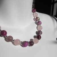 Rose Quartz ,Purple Agate and Pink Fluorite Necklace