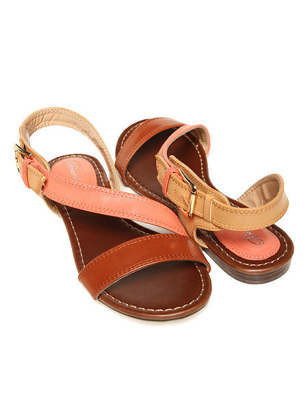 Papaya Clothing Online :: BUCKLED COLOR BLOCK SANDALS