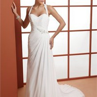 Romantic halter strapless sweetheart court train A-line organza simple Wedding Dresses WDSP0021