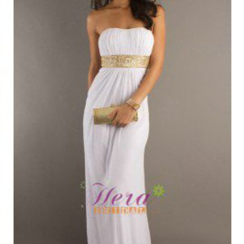 Classic Empire White Chiffon Prom Dress Evening Dress