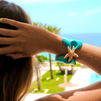 Turquoise Starfish Bow Cuff