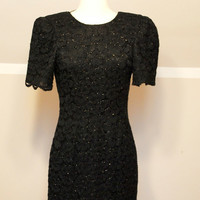 80s Sparkling Black Lace Evening Dress
