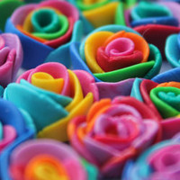 Rainbow Polymer Clay Rose Earrings YOU CHOOSE