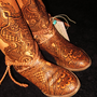 CUSTOM ORDER Mehndi Henna Burned Women's Leather Boots, Clogs, Shoes-- Do not purchase this listing - it is for demonstration purposes only.