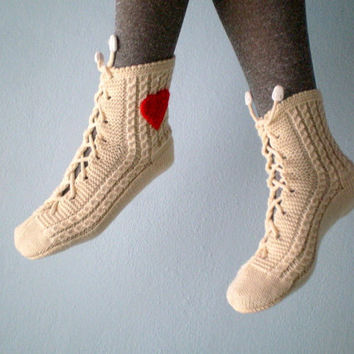 Cream Slipper Socks, Lacing Slippers for Women, Spring Fashion