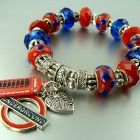 BRITISH UNDERGOROUND AND PHONE BOOTH EUROPEAN BEAD CHARM GIFT BRACELET