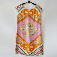 Retro Printed Silk Dress TFCL04E - Designer Shoes|Bqueenshoes.com