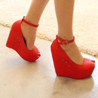 YESSTYLE: 77Queen- Ankle-Strap Open-Toe Studded Wedges - Free International Shipping on orders over $150