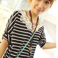 Sweet Stripe Crochet Collar Blouse