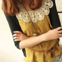 Sleeveless Crochet Pattern Collar Top Yellow