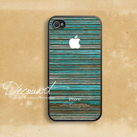 iPhone 4 case, iPhone 4s case, case for iPhone 4, wood pattern mint stripe with apple logo B330