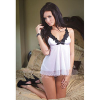 White and Black Lace V-neck Short Babydoll Set
