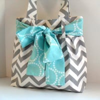 Handbag Made of Chevron  Fabric and Large Aqua Bow